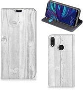 Huawei Y7 hoesje Y7 Pro (2019) Book Wallet Case White Wood