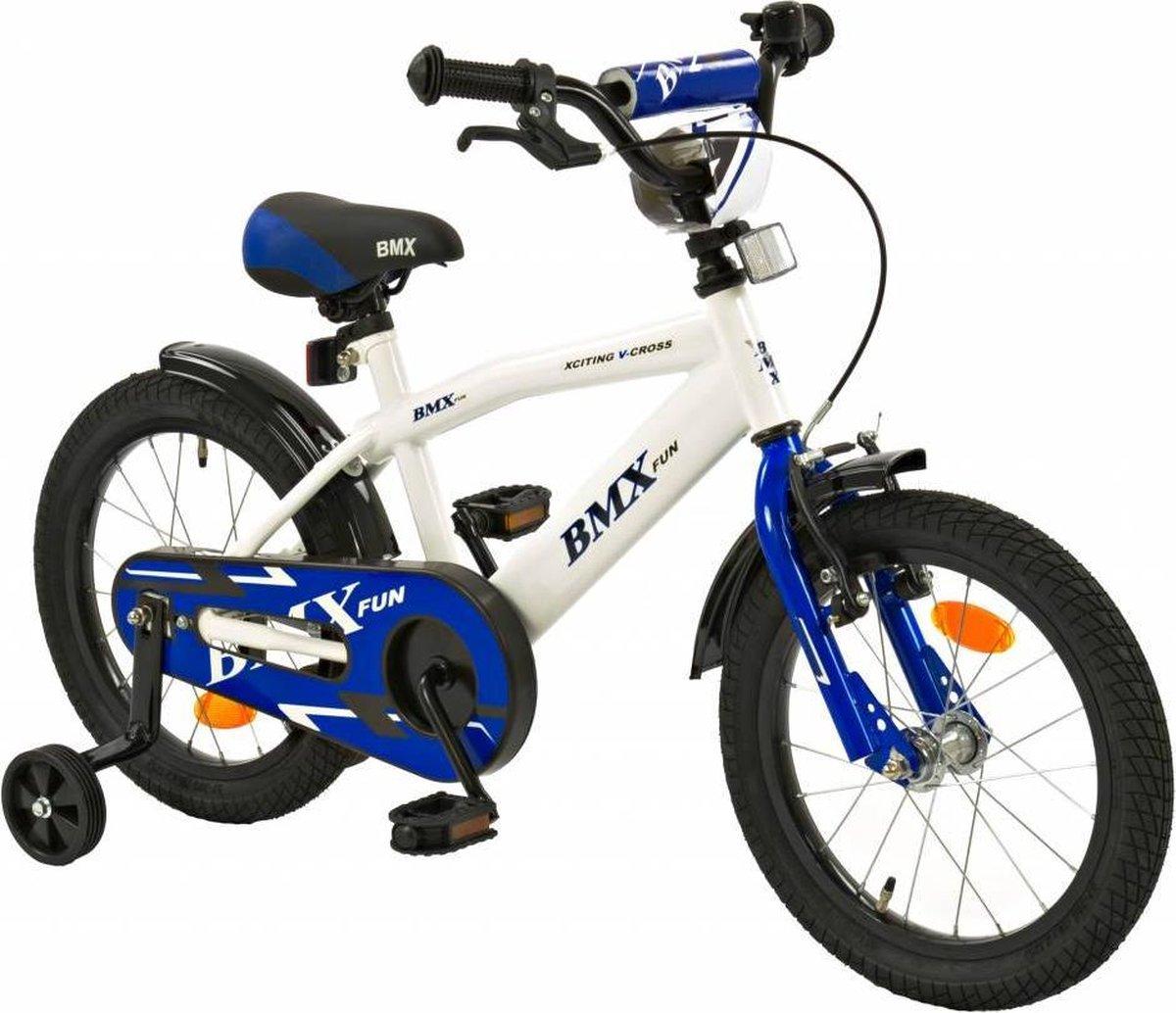2Cycle BMX Kinderfiets - 16 inch - Wit-Blauw - Jongensfiets
