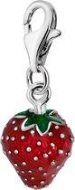 Quiges - 925 Zilver Charm Bedel Hanger 3D Aardbei Email - HC248