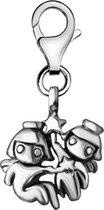 Quiges - Charm Bedel Hanger 3D Horoscoop Tweeling - Dames - zilverkleurig - QHC163