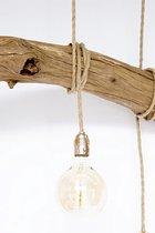houten hanglamp met 5 LED spiraal lampen (scheepstouwkabel / messing fittingen)