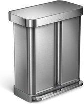 Simplehuman Rectangular - Prullenbak - 58 Liter Inhoud - Met 2 Compartimenten - Zilver