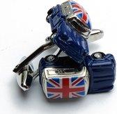 Manchetknopen - Mini Cooper Auto Blauw Britse Vlag