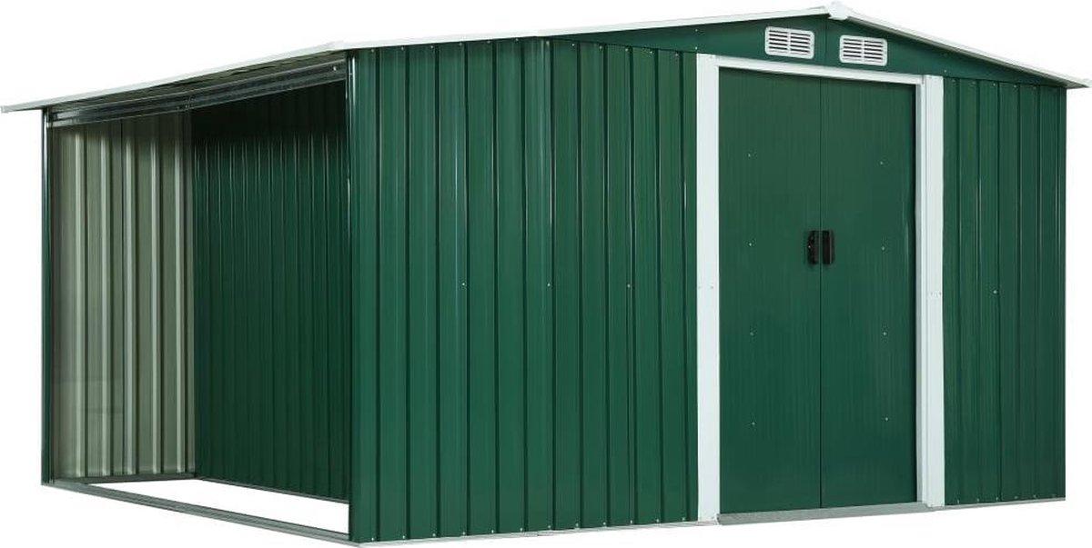 VidaXL Tuinschuur met schuifdeuren 329,5x259x178 cm staal groen VDXL_144023 online kopen