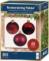 Kerstbal en ster piek set 61x rood - voor 150 cm boom - Kerstboomversiering rood