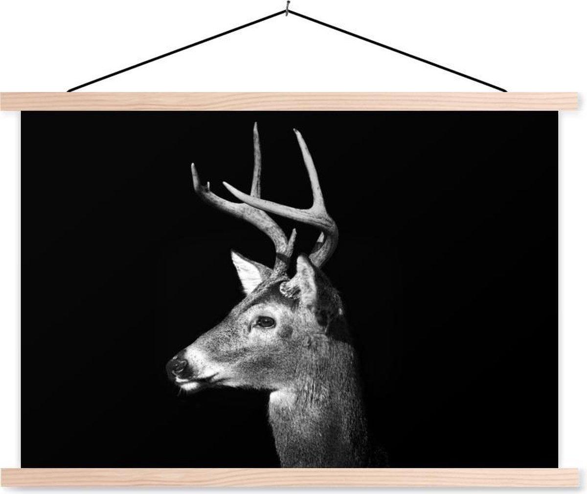 Dierenprofiel hert in zwart-wit textielposter latten blank 90x60 cm - Foto print op schoolplaat (wanddecoratie woonkamer/slaapkamer)