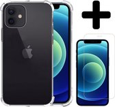 iPhone 12 Hoesje Siliconen Shock Proof Case Met Screenprotector Met Dichte Notch - iPhone 12 Case Siliconen Hoesje Cover - iPhone 12 Hoes Hoesje - Transparant
