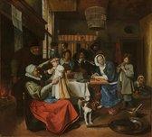 Schilderij - Jan Steen, 'Zo de ouden zongen, zo piepen de jongen', c. 1663 - 1665 100x90cm