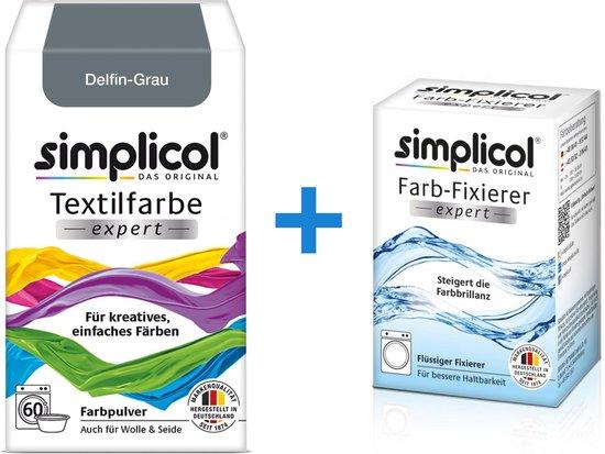 Simplicol Textielverf Expert met Color Fixer - Textielverf voor wasmachine of handwas - Dolfijn Grijs