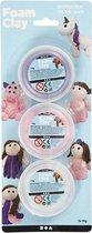 Foam Clay®, 3x14 gr, wit, paars, roze