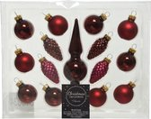Donkerrode glazen kerstballen en piek set voor mini kerstboom 15-dlg - Kerstversiering/kerstboomversiering donkerrood