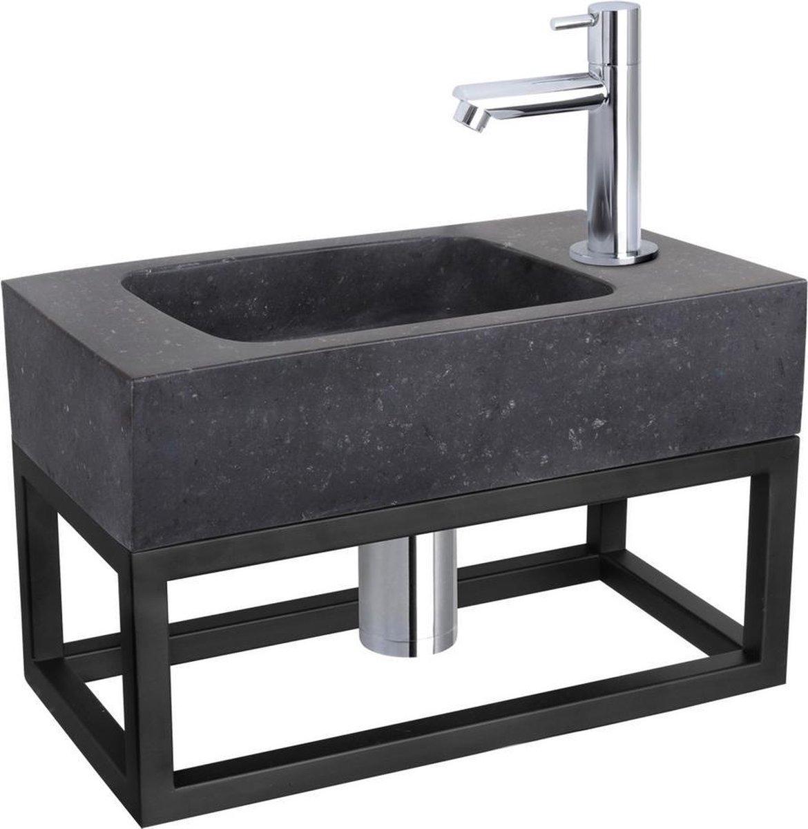 Differnz Fonteinset Bombai black - Natuursteen - Kraan recht chroom - Met handdoekrek - 40 x 22 x 9 cm