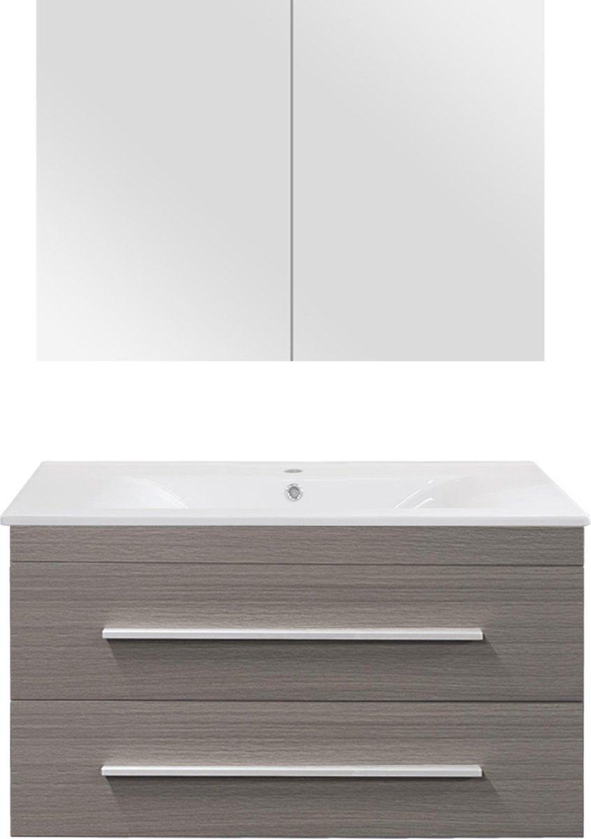 Differnz Style Badkamermeubel - 90 cm - Grijs eiken