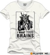 FOR GAMING - T-Shirt WANT YOUR BRAINS - (S)