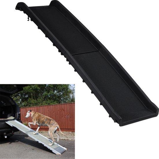 relaxdays loopplank hond inklapbaar - hondenloopplank voor auto - anti slip - tot 50 kg