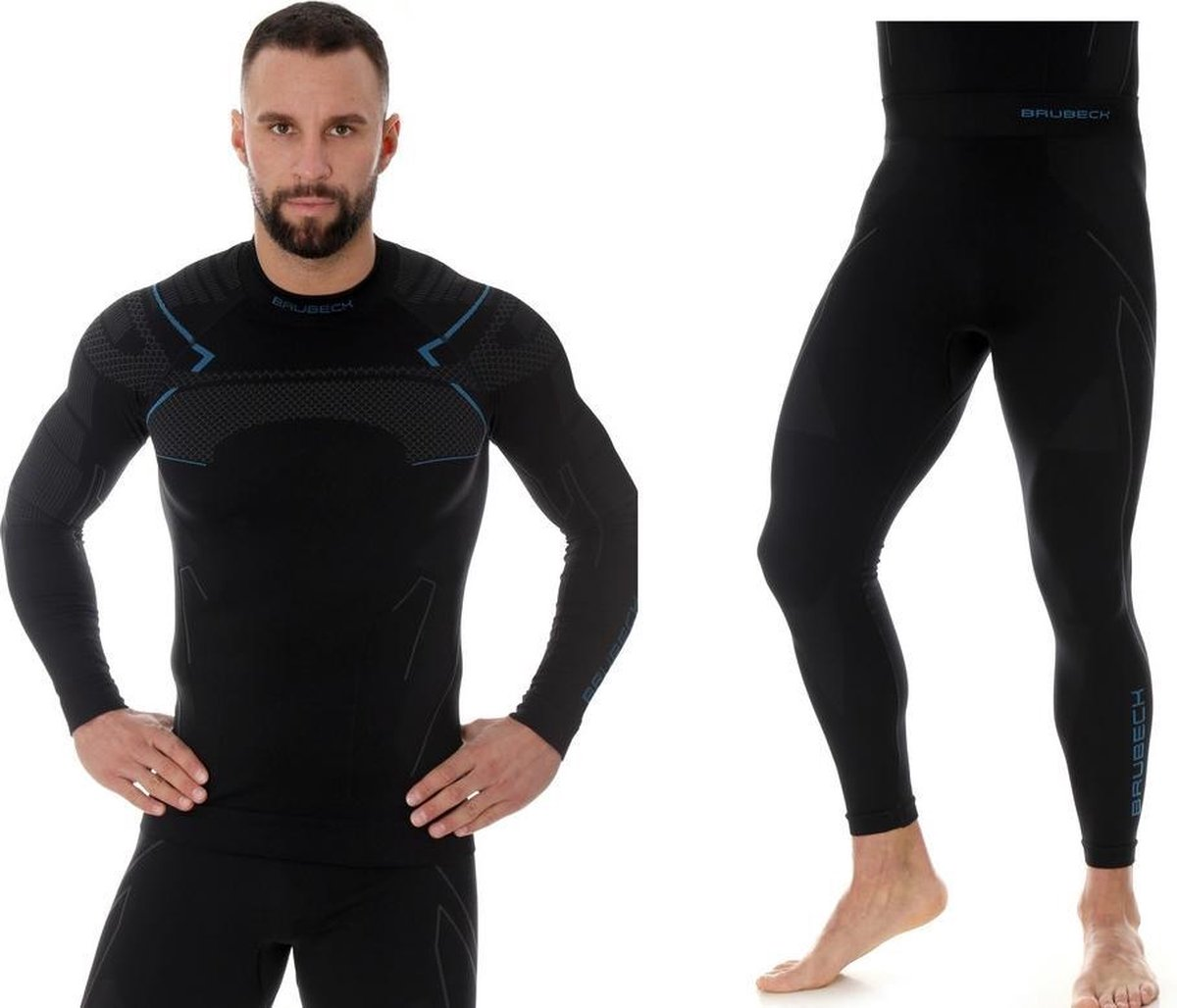Brubeck Heren Thermokleding Set - met Nilit® Heat - Zwart/Blauw - XXL