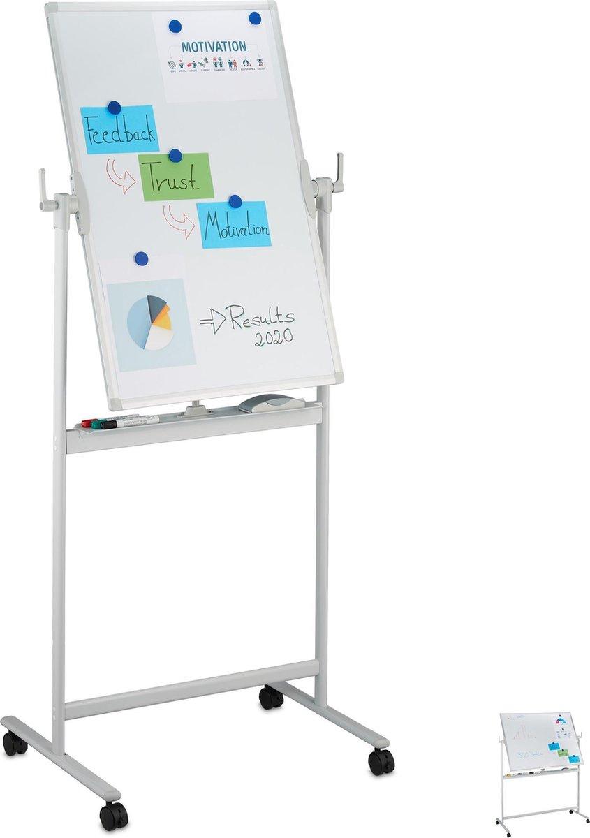 relaxdays whiteboard verrijdbaar - magneetbord - standaard - memobord - schoolbord - bord 60 x 90cm
