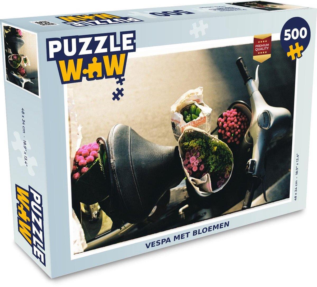 Puzzel 500 stukjes Vespa - Vespa met bloemen  - PuzzleWow heeft +100000 puzzels