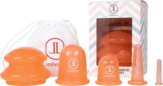 LimberLux anti cellulite cups - inclusief draagzakje en skincare samples - Cupping...
