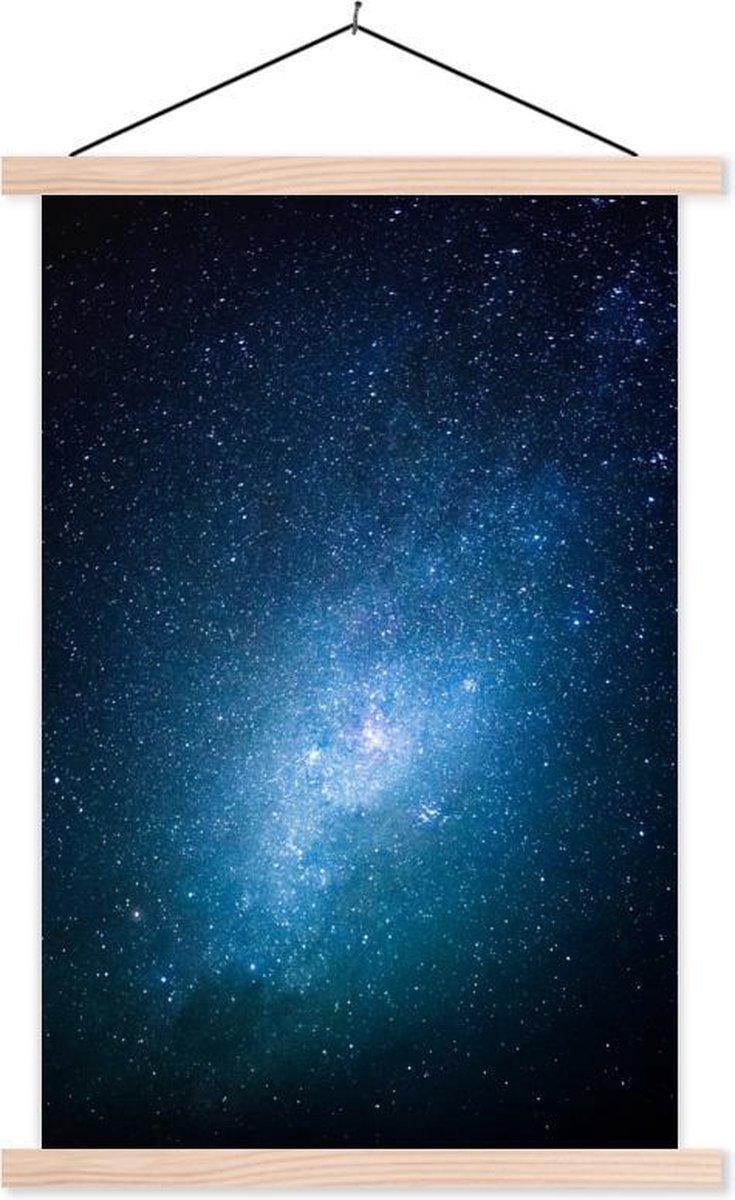 Sterren bij een blauwe hemel schoolplaat platte latten blank 120x180 cm - Foto print op textielposter (wanddecoratie woonkamer/slaapkamer) XXL / Groot formaat!