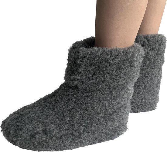LuLu- Grijze wollen sloffen / pantoffels met antislipzool - maat 41 - unisex