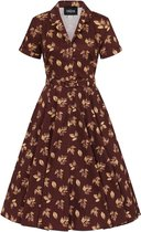 Collectif Caterina Fall Leaves 50's Swing Jurk Bruin
