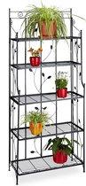 relaxdays - plantenrek GOTH metaal 5 etages met versiering - opklapbaar - zwart