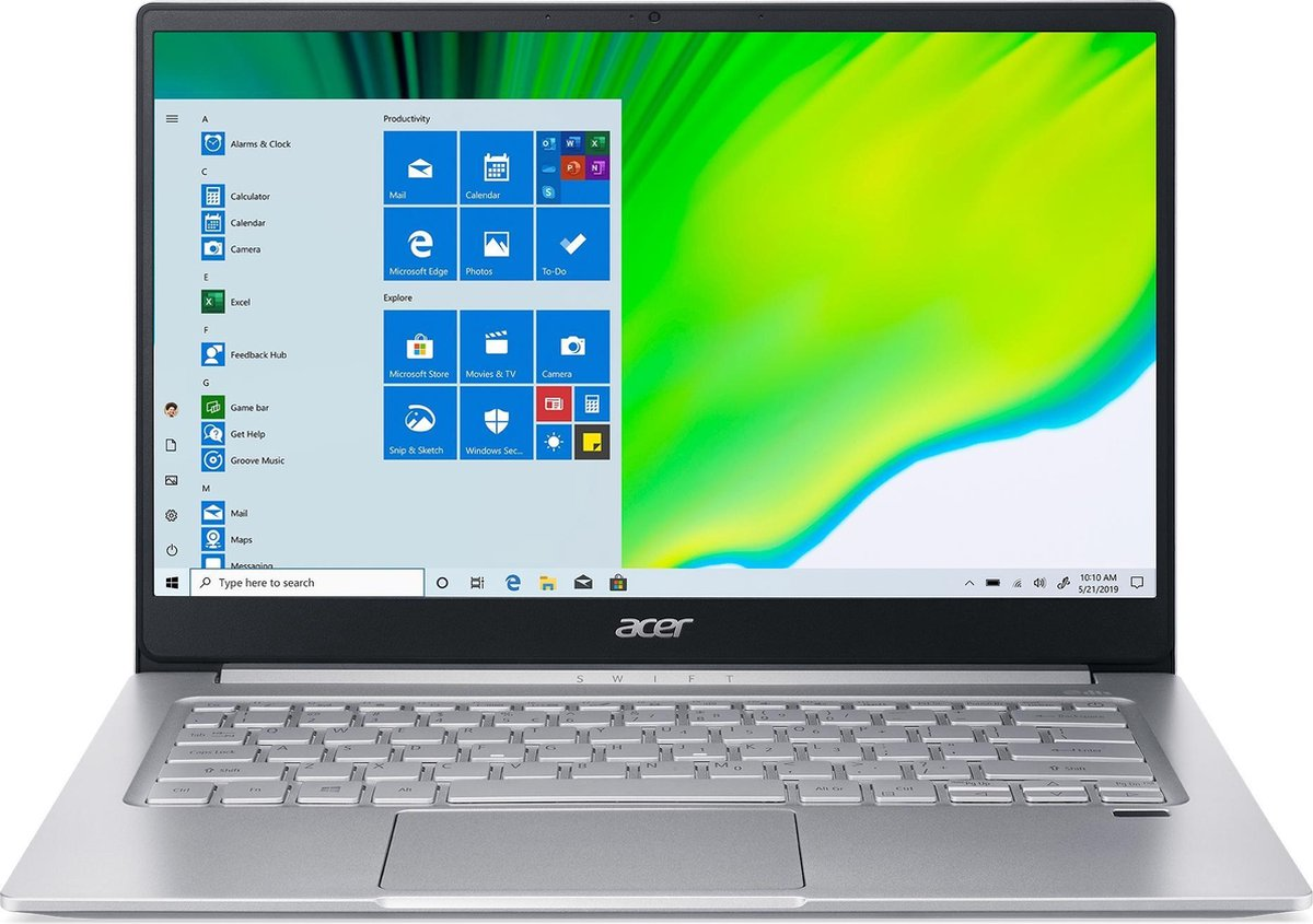 "Acer Swift 3 SF314-59-55D1 Notebook 35,6 cm (14"") 1920 x 1080 Pixels Intel® 11de generatie Core™ i5 8 GB LPDDR4x-SDRAM 512 GB SSD Wi-Fi 6 (802.11ax) Windows 10 Home Zilver"