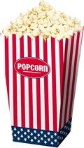 4x stuks  Amerikaanse popcorn bakjes 16 cm - USA thema feestartikelen