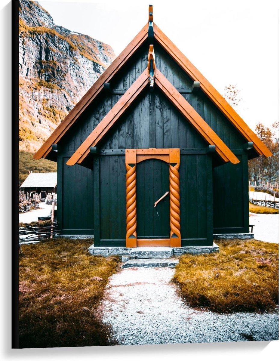 Canvas  - Klein Huisje zwart/bruin - 75x100cm Foto op Canvas Schilderij (Wanddecoratie op Canvas)