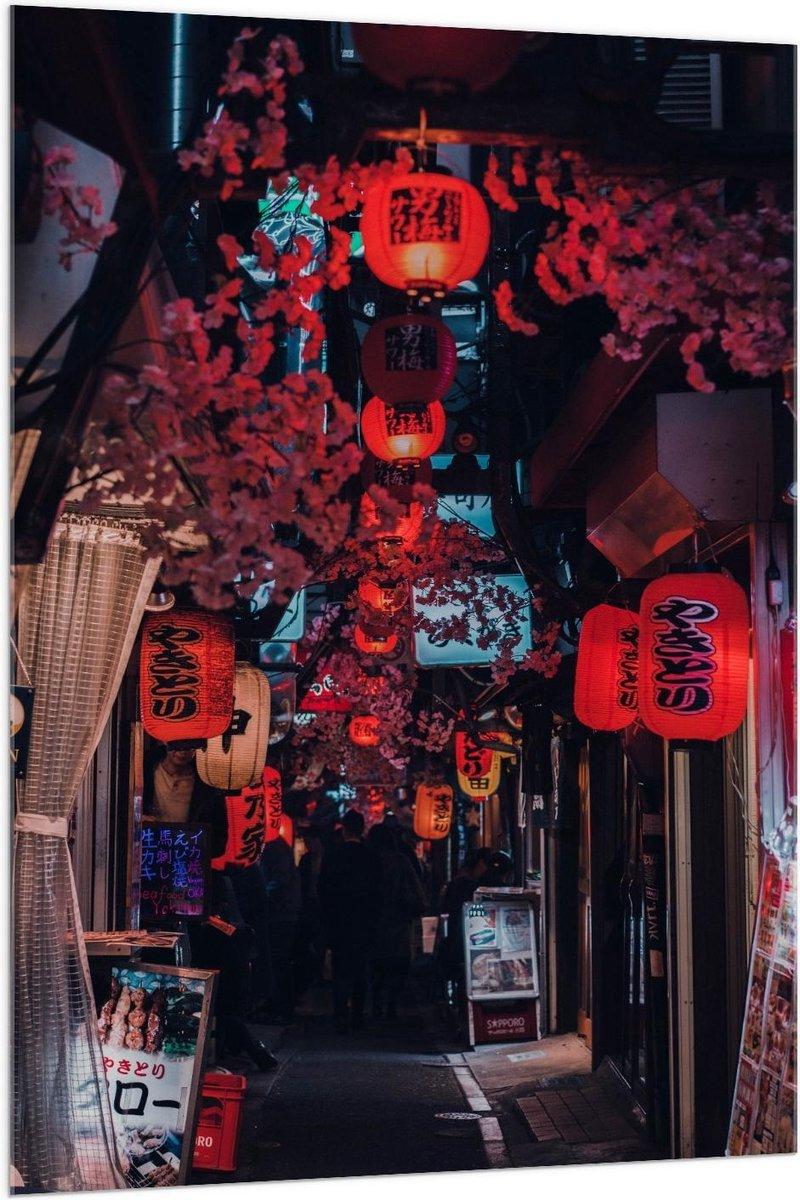 Plexiglas - Hal met Chinese Lampions - 100x150cm Foto op Plexiglas (Wanddecoratie op Plexiglas)