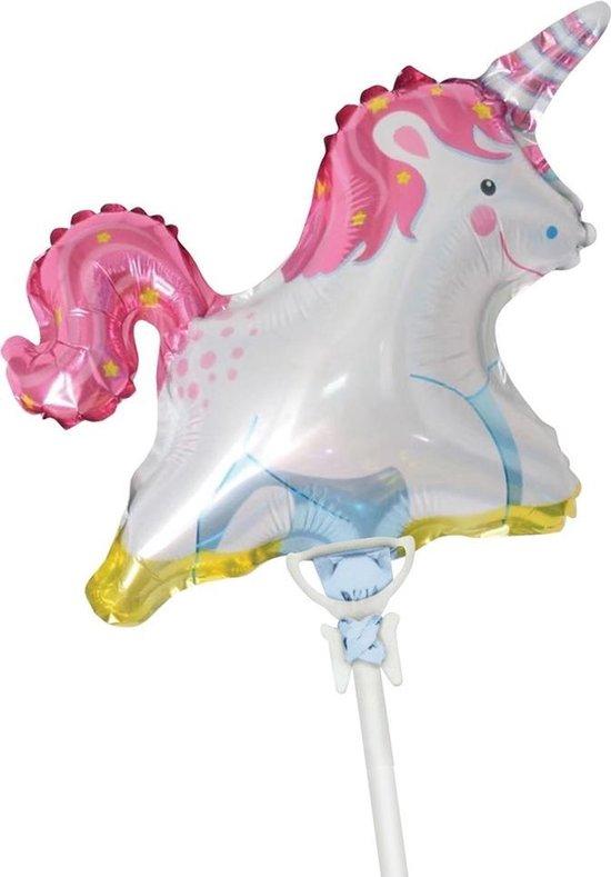 Tib Folieballon Unicorn Junior 35 Cm Wit/roze
