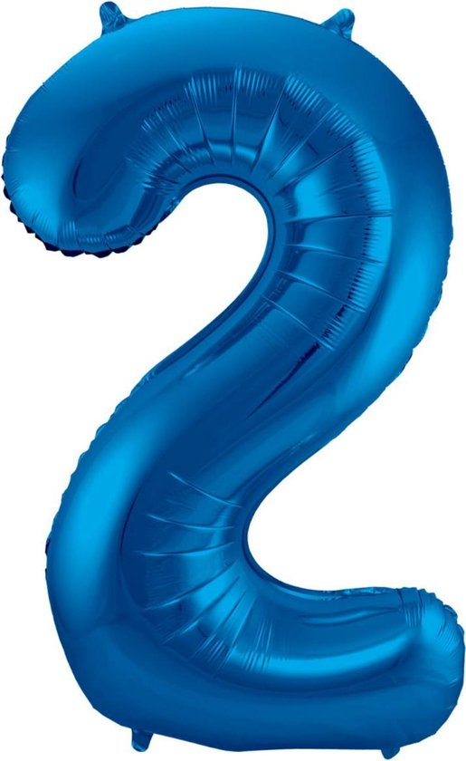 Ballon Cijfer 2 Jaar Blauw Verjaardag Versiering Blauwe Helium Ballonnen Feest Versiering 86 Cm XL Formaat Met Rietje