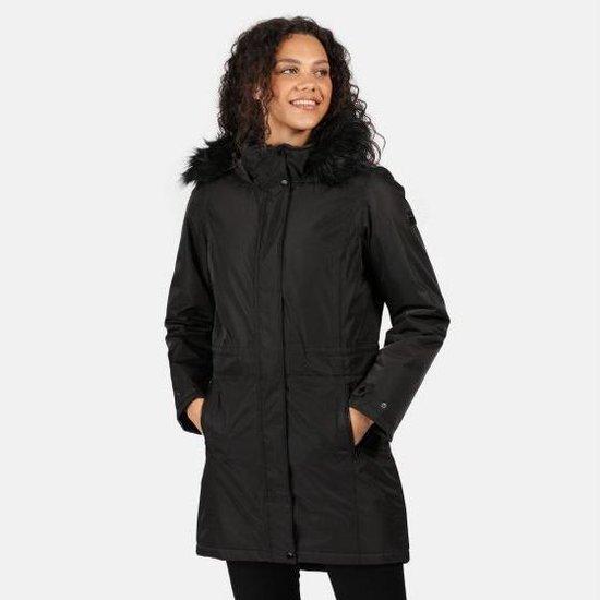 Lexis waterdichte, geïsoleerde Parka jas met capuchon met rand van imitatiebont van Regatta voor dames, Outdoorjas, zwart