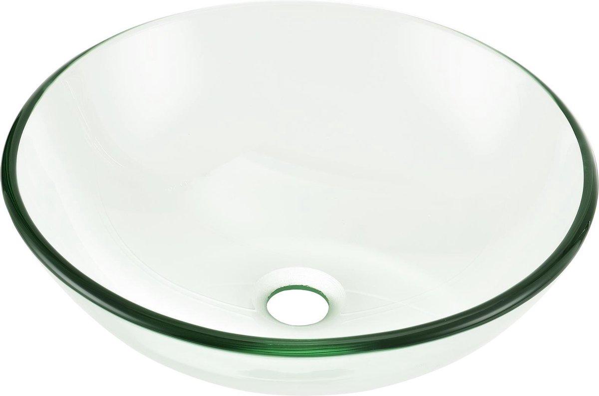 Wastafel wasbak waskom rond glas 42x42x13,8 cm transparant