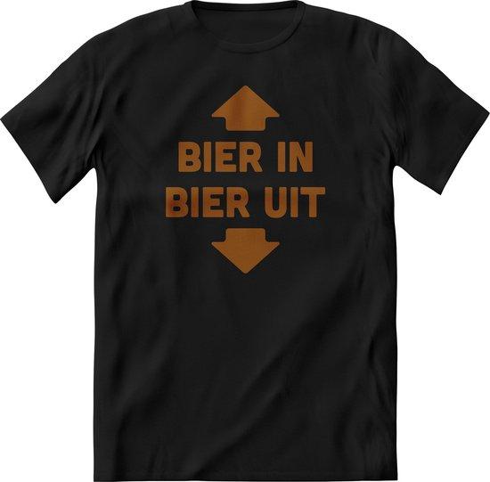 Bier in bier uit  T-Shirt Heren - Grappig quotes en teksten shirt vrouwen – Drank feest kleding – Perfect bier liefhebber verjaardag cadeau tshirt – Feest shirt -kleding Maat S 3XL