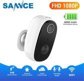 Sannce Slimme WiFi waterbestendige IP-binnen / buitencamera (Full-HD 2mp, SD, IR+2-weg audio), Draadloos met ingebouwde accu, standby voor 5 maanden