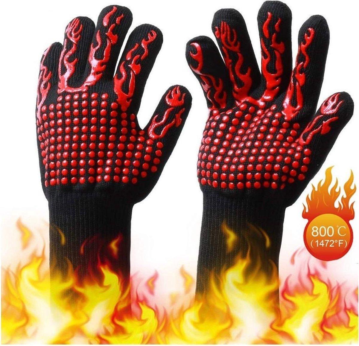Hittebestendige Oven handschoenen - BBQ - Dubbel gevoerd - Extra groot voor betere bescherming - 2 S