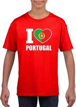 Rood I love Portugal fan shirt kinderen M (134-140)