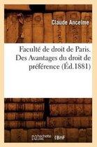 Faculte de droit de Paris. Des Avantages du droit de preference (Ed.1881)