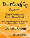 Butterfly Opus 43 Easy Elementary Piano Sheet Music