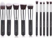 Make-up kwasten Geschenkset 10-delig Synthetisch haar - Zwart en Zilver