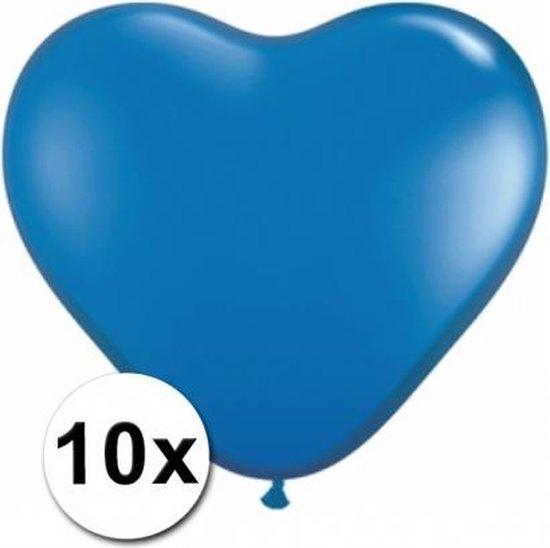 Hartjes ballonnen blauw 10 stuks