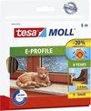 tesamoll E-profiel tochtstrip, zelfklevend, rubber, 6m:9mm:4mm, bruin