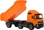 Speelgoed oranje kiepwagen auto voor jongens 59 cm - Buiten/binnen speelgoed auto's - Vrachtwagen met laadklep/oplegger