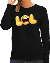 Funny emoticon sweater LOL zwart voor dames - Fun / cadeau trui 2XL