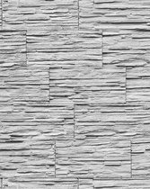 Steen behang EDEM 1003-32 glasvezel look steenoptiek structuur vinylbehang met reliëfstructuur grijs wit
