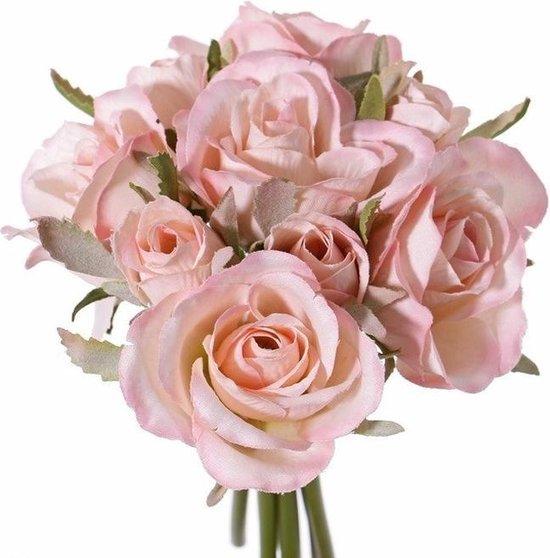Luxe boeket kunstbloemen roze rozen 20 cm - Bruidsboeketten