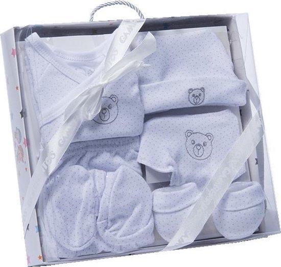 Gamberritos Babykledingset Beertje Wit/grijs One Size 6-delig