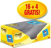 Value Pack: Post-it® Notes, Canary Yellow™, 76 x 76 mm, 100 Blaadjes/Blok, 16 blokken + 4 GRATIS